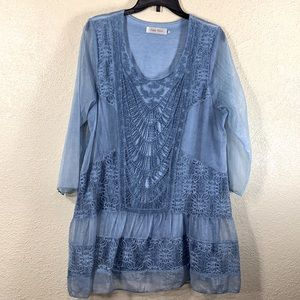 Simply Couture Top Blouse Tunic Blue XL Sheer Lace